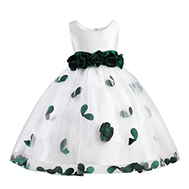 295cb5d0f3 Girls Tutu Bow Dress Petals Princess Flower Dress with 3D Roses for  Birthday Wedding Party (