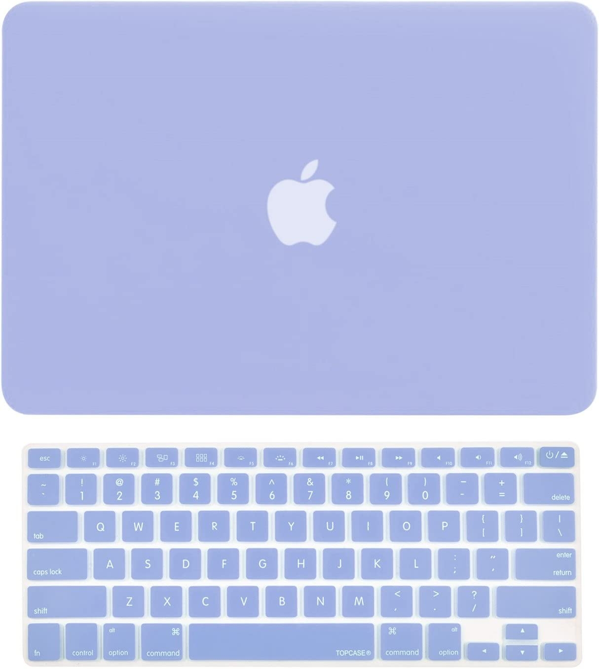 """TOP CASE - 2 in 1 Signature Bundle Rubberized Hard Case and Keyboard Cover Compatible Old Generation MacBook Pro 13-Inch (13"""" Diagonally) with CD-ROM/DVD Drive A1278 - Serenity Blue"""