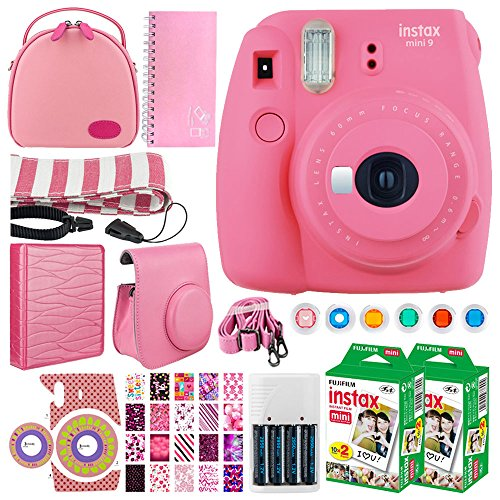 Fujifilm instax Mini 9 Instant Film Camera + Instax Mini Twin Pack Instant (40 Shots) + Case + Scrapbook Album + Colored Filters + Camera Sticker + Neck Strap – Full Accessory Kit (Flamingo Pink)