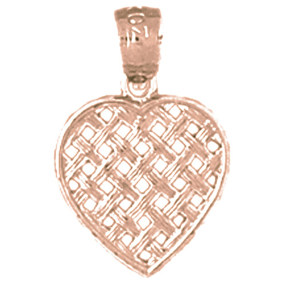 14K Rose Gold-plated 925 Silver Heart Pendant with 16 Necklace Jewels Obsession Heart Necklace