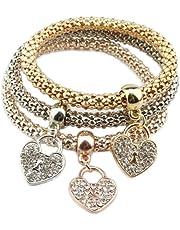 Hosaire 3Pcs/Lot Femme Bracelet Conception en Forme de Coeur Trois Couches de chaîne épaisse éclat Strass Bijoux Cadeau de l'amour (Type-1)