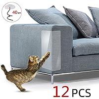 yuanbogg 12 Unids/Set Cat Scratching Tape Disuasivo Anti Scratch Etiqueta Duradera Alfombra Transparente Sofá Protección Muebles Asientos De Entrenamiento para Mascotas 30Cm × 15Cm