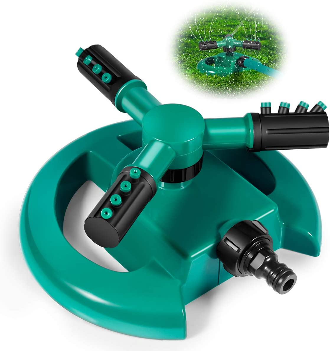 V-LXRONG Garden Sprinkler, Automatic Rotating Lawn Sprinkler, 360 Degree Large Area Coverage Water Sprinklers for Lawns and Gardens