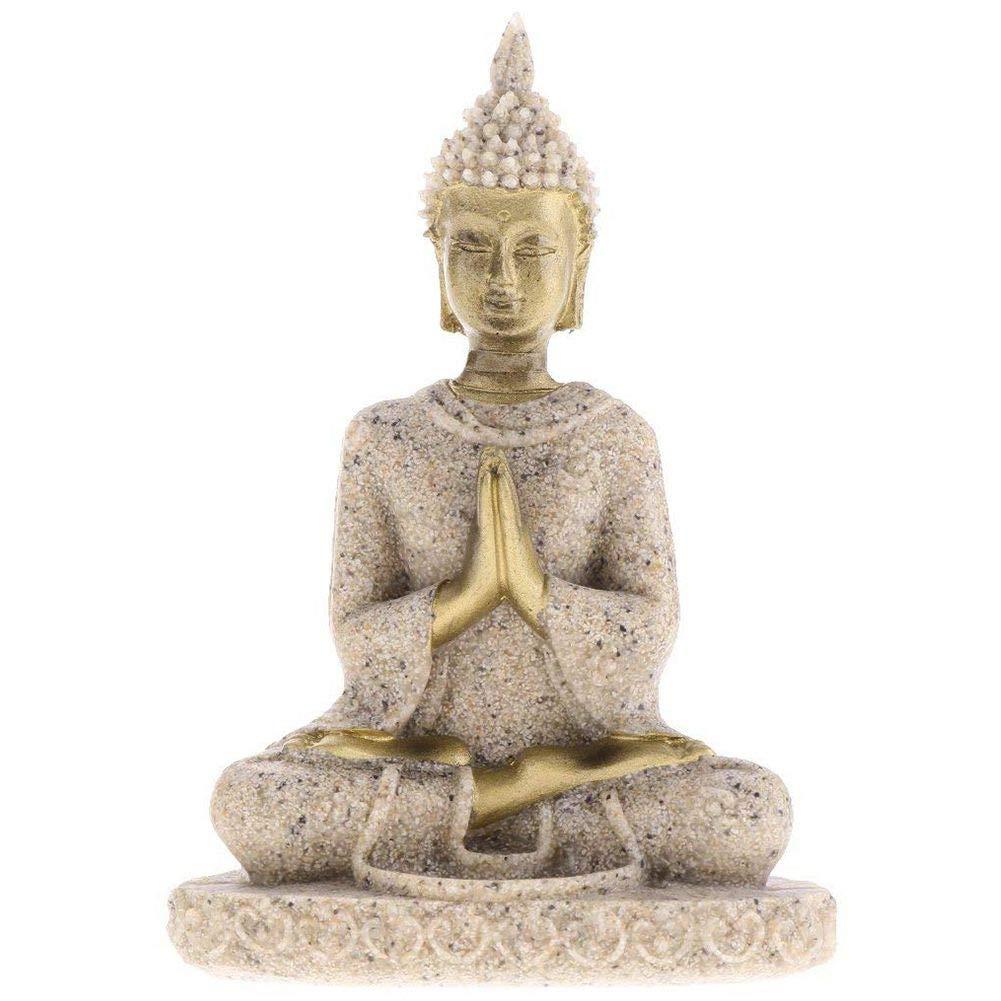 SODIAL Statua di Buddha di Meditazione di Gres Scultura di figurina Fatta a Mano # 3