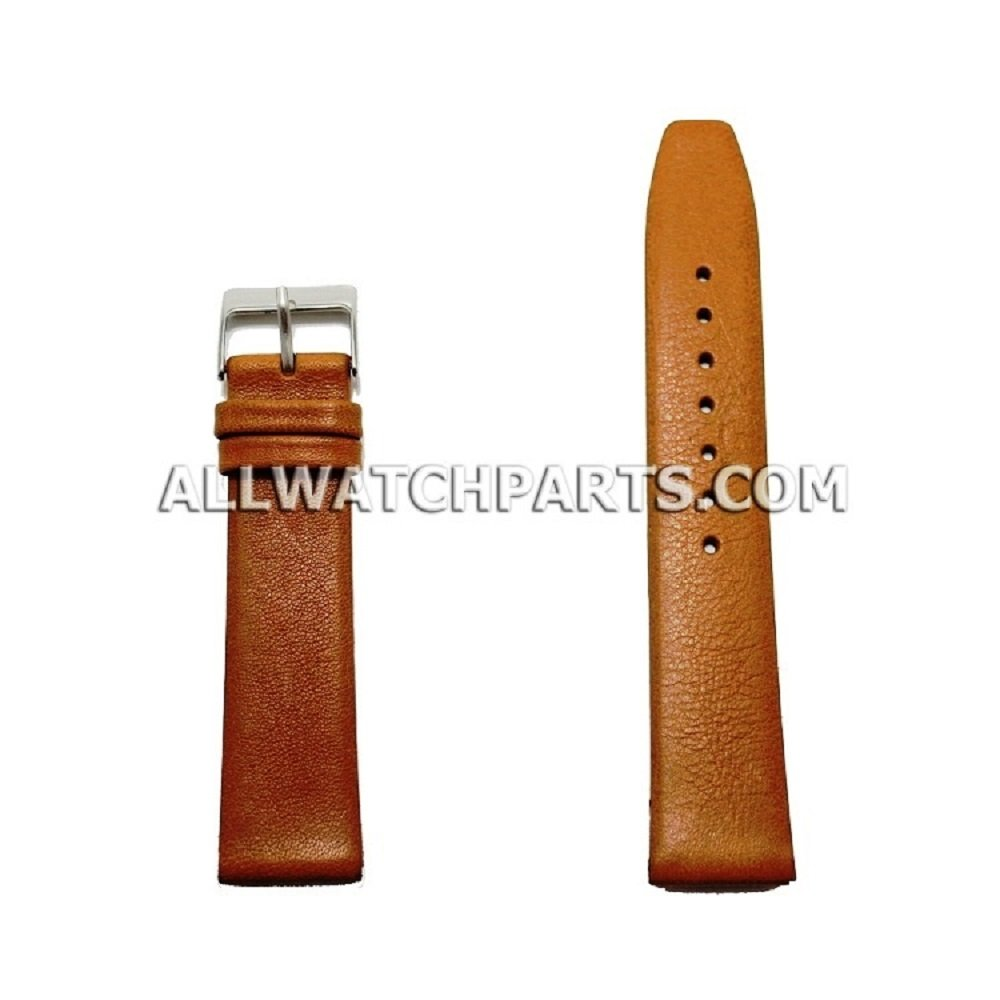 20mm Light Brown Smooth & Flat Style Genuine Leather Band