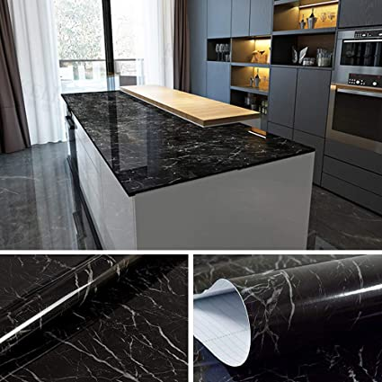 YENHOME Faux Marble Countertops Peel and Stick 24 x 196 inch Jazz Black  Countertop Contact Paper Marble Wallpaper for Kitchen Cabinets Shelf and ...