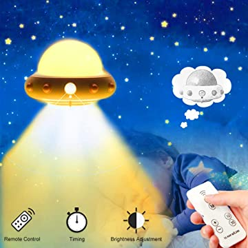 Lehoo Castle Night Light for Kids, UFO Dimmable Nursery Night Lights with 3 Lighting Mode, Baby LED Night Lamp with Remote Control, USB Rechargeable Bedside Night Lamp, Gifts for Toddler Kids (Yellow)