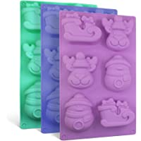 3 Pack Christmas Silicone Molds, SENHAI Soap Chocolate Trays Cake Baking Pans, with Shape of Snowman Reindeer Sleigh, 6 Cavities - Purple, Blue, Green