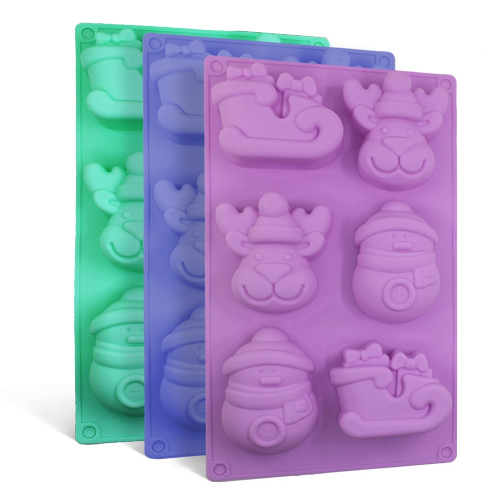 3 Pack Christmas Silicone Molds, SENHAI Soap Chocolate Trays Cake Baking Pans, with Shape of Snowman Reindeer Sleigh, 6 Cavities - Purple, Blue, Green 4336902537