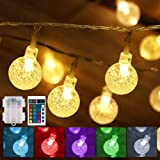 Battery Operated String Lights USB Powered 16 Colors Globe LED Fairy String Lights with Timer & Memory Function, Indoor& Outd