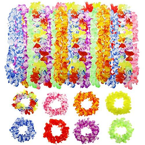 Buluri Hawaiian Leis Necklace 24 Counts Tropical Hawaii Wreaths Headband Multi-color for Hawaiian Luau (Cheap Luau Party Supplies)