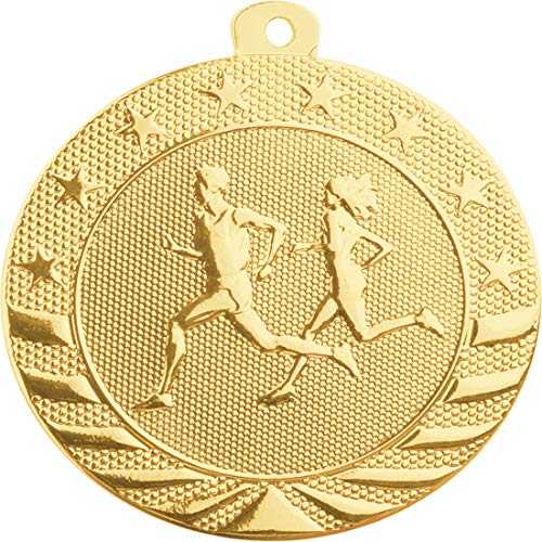 Express Medals 10-Pack of Cross Country Running 2 inch Gold Color 1st Place Medal Trophy with Neck Ribbons Metal Awards ()