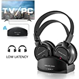 Wireless Headphone for TV Watching,Ansten Over-Ear Headphone with Charging Dock Lightweight Cordless Design for Gaming PC TV