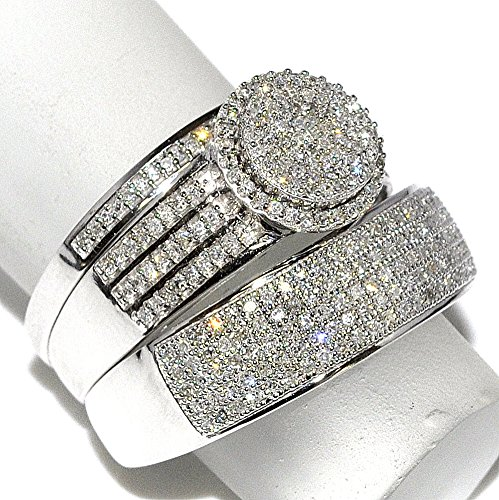 amazoncom rings midwestjewellery his her 10k white gold halo style wedding ring 23cttw diamond i2i3 clarity ij color midwestjewellery jewelry - His And Hers Wedding Rings Cheap