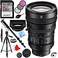 Sony 28-135mm FE PZ F4 G OSS Full-frame E-mount Power Zoom Lens (SELP28135G) with Sony 64GB SDXC Memory Card Plus Pro Monopod Accessories Bundle