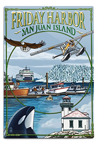 Lantern Press Friday Harbor, San Juan Island, WA Snow Version (12x18 Aluminum Wall Sign, Wall Decor Ready to Hang)
