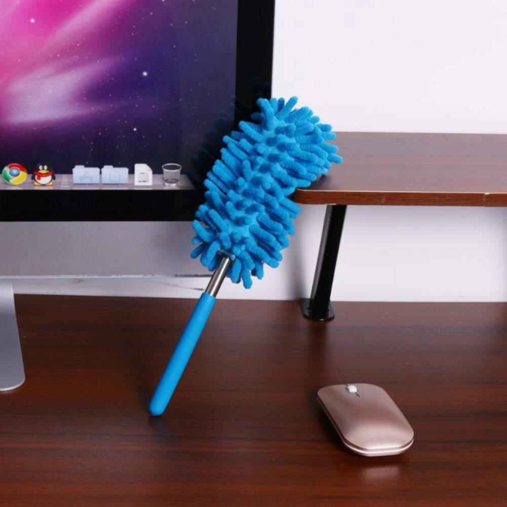 Pawaca Car Chenille Duster For Cleaning Exterior And Interior Without Leaving a Single Scratch Long Unbreakable Extendable Handle Lint Free Blue