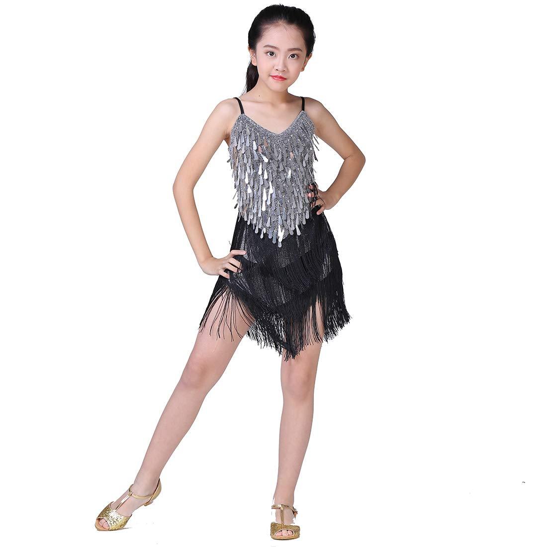 238417619cc8 Amazon.com: Magogo Girls Dancing Dresses, Sequin Tassel Skirt Latin Dance  Costumes for Kids, Salsa Ballet Tango Rumba Ballroom Dancewear: Clothing