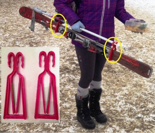 KlipSki - EASY Ski and Pole Carrier No more annoying ski strap tangle ups Ski Easy this season(Pink)