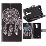 G3 Case, Jenny Shop Fashion Style PU Leather Stand Feather with 2 Built-in Card Slots, Money Pocket Flip Cover Magnetic Closure Cover Case ONLY for LG G3 5.5 Inch Screen Smartphone (Black Background Feather Wind Bell)
