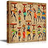 wall26 Canvas Prints Wall Art - African Woman on Grunge Background (africa) | Modern Wall Decor/Home Decoration Stretched Gallery Canvas Wrap Giclee Print. Ready to Hang (24'' x 24'', Artwork - 01)