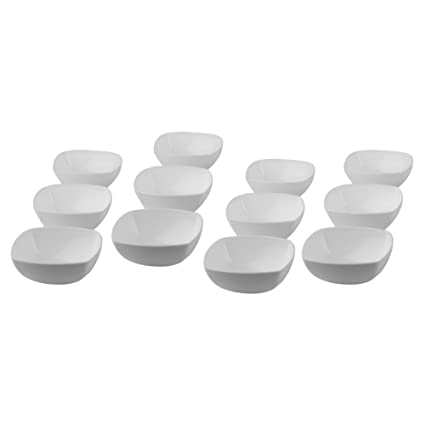 Homray Opulence Microwave Safe & Unbreakable Square 350 ml Bowls (Set of 12)