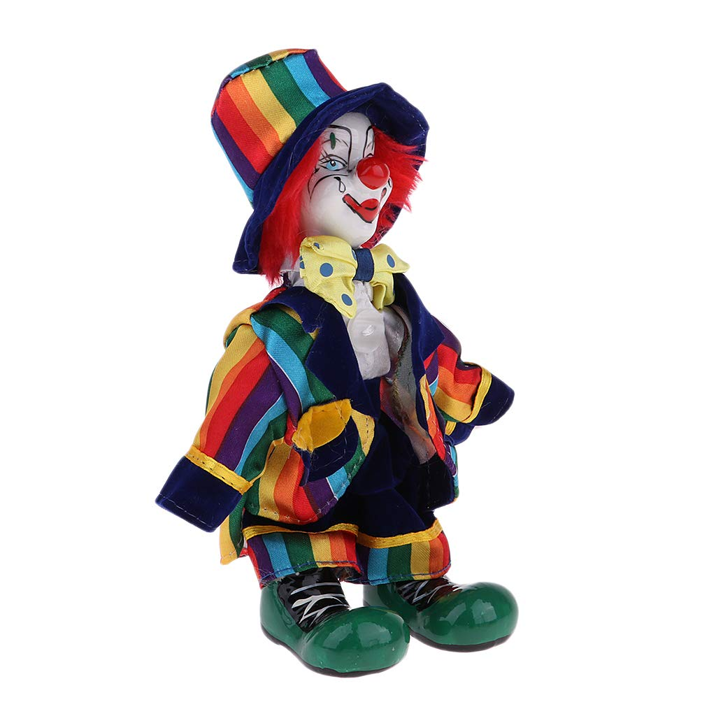 KESOTO 38cm Vintage Hand Painted Porcelain Clown Doll in Clothes