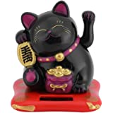 Delaman Maneki Neko Solar Powered Lucky Cat Waving Arm, Fortune Cat (Black) Black