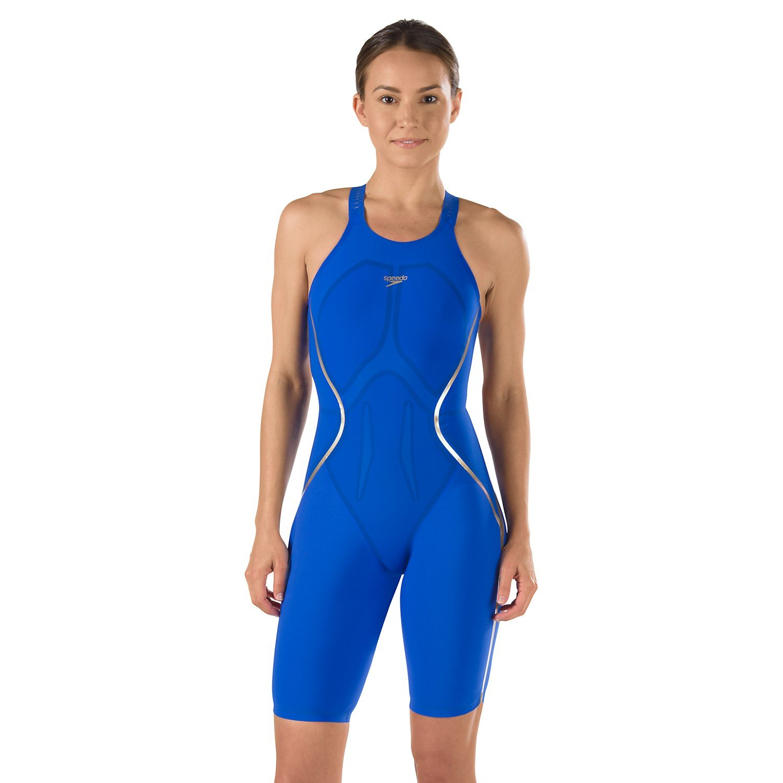 Speedo Women's LZR Racer X Kneeskin Blue 20 & Travel Sunscreen Spray Bundle