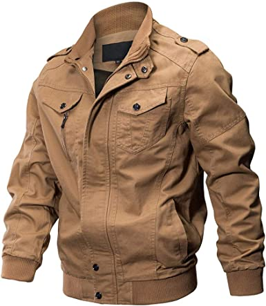 JMEN Chaqueta Militar para Hombre Cazadora de algodón de otoño, Chaqueta de Vuelo, Marrón, L: Amazon.es: Ropa y accesorios