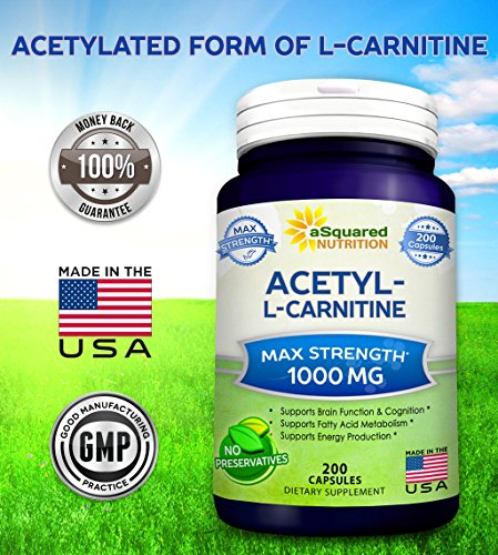 Pure Acetyl L-Carnitine 1000mg Max Strength - 200 Capsules - High Potency Acetyl L Carnitine HCL (ALCAR) Supplement Pills to Support Energy, Brain Function & Fatty Acid Metabolism by aSquared Nutrition (Image #5)