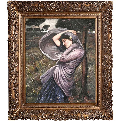 La Pastiche overstockArt Boreas Framed Oil Reproduction of an Original Painting by John William Waterhouse, Burgeon Gold Frame, Organic Pattern Facade with Gold Finish