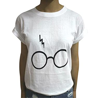 Haomei Rundhals T Shirt Damen Schöne Lockere Brille Print T Shirts Kurzarm  Frauen Sommer Oversize Oberteile 1c171a6550