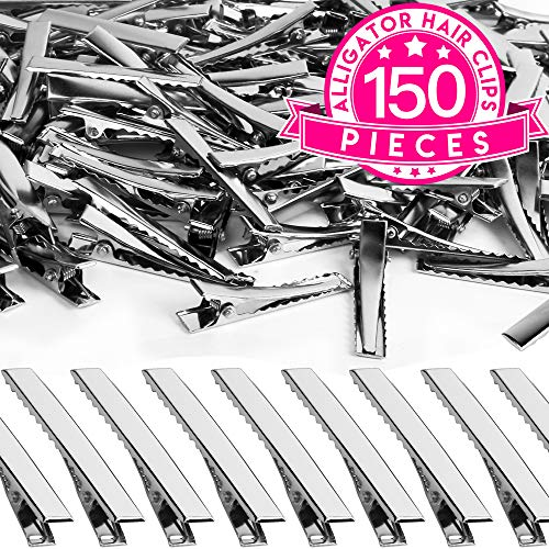 Alligator Hair Clips, YGDZ 150pcs 1.77 Inch Metal Hair Clips Single Prong Silver Alligator Clips with Teeth for Hairbow Making(4.5cm)