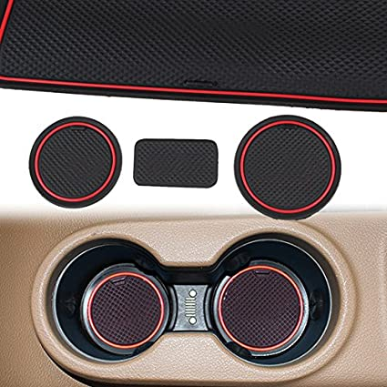 ROCCS Red Interior Door Cup Holder Mats Anti-dust Non-Slip Mat for Jeep Wrangler JK 2009-2015 with Logo 4350405968