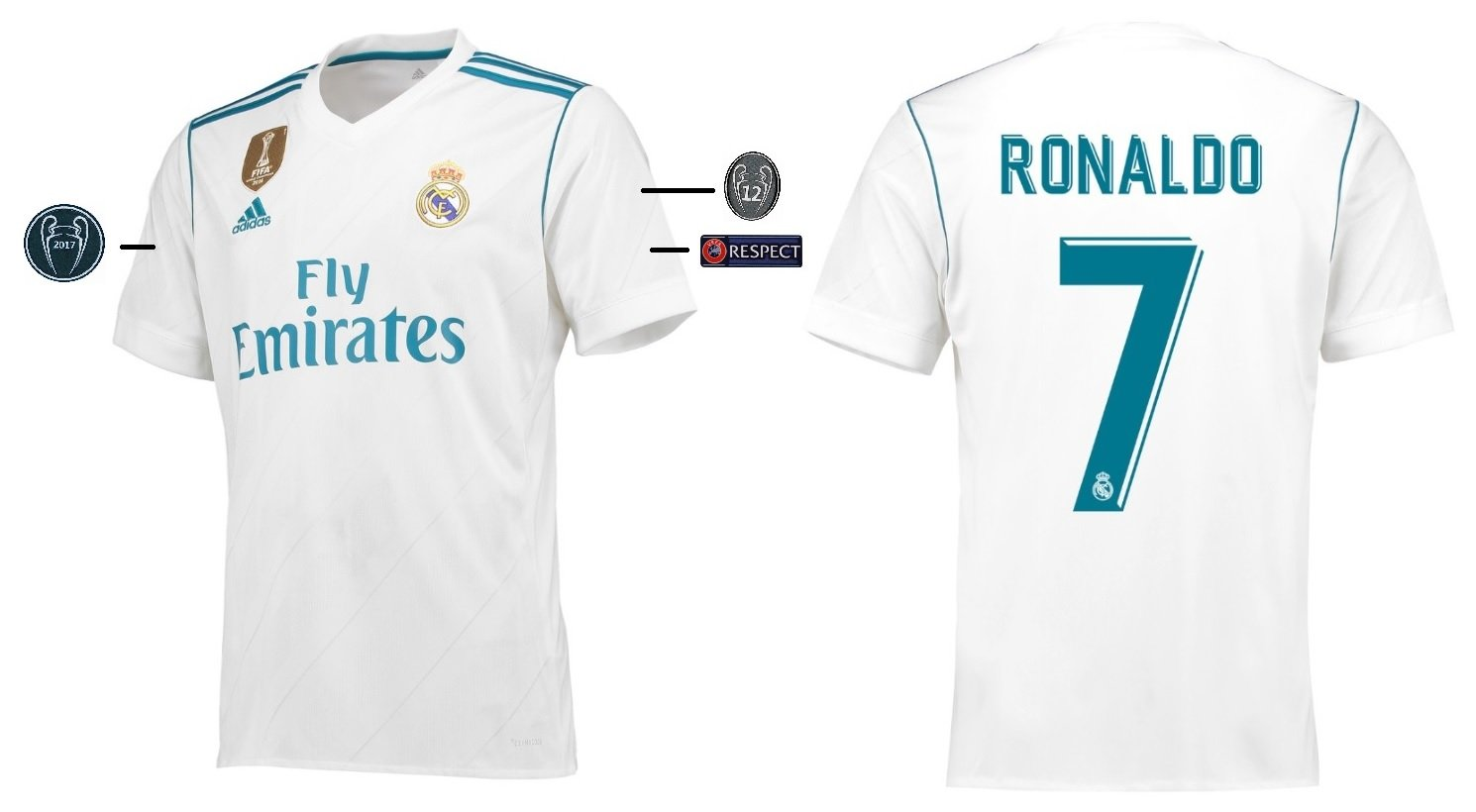 Trikot Kinder Real Madrid 2017-2018 Home UCL - Ronaldo 7