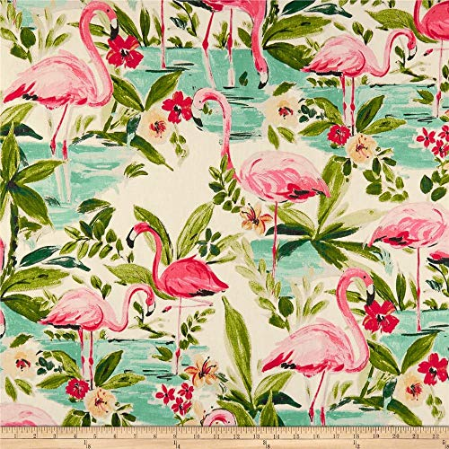 Waverly Floridian Flamingo Duck In Bloom, Fabric by the Yard (Flamingo Fabric)