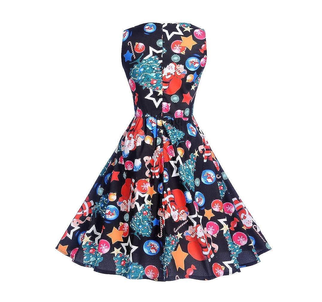 28506d43cf3 Amazon.com  Vanbuy Womens 1950s Vintage Retro Style Christmas Dress Xmas  Santa Party Dresses  Clothing