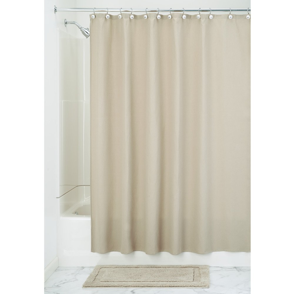 Amazon InterDesign York Hotel Cotton Blend Fabric Shower Curtain 72 Inches X Beige Home Kitchen