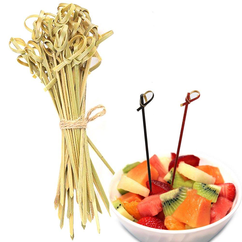 Einweg Bambus Knoten Cocktail Pick & Vorspeise Spieß, Fruit Sandwich Spieße Picks Hotel für Veranstaltungen, Restaurants, Urlaub oder Buffet Party Supplies 9cm/3.54 grün