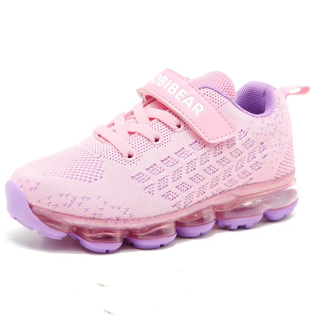 BODATU Girls Air Shoes Athletic Lightweight Cushion Running Sneakers(Little Kid/Big Kid)(4, Pink)