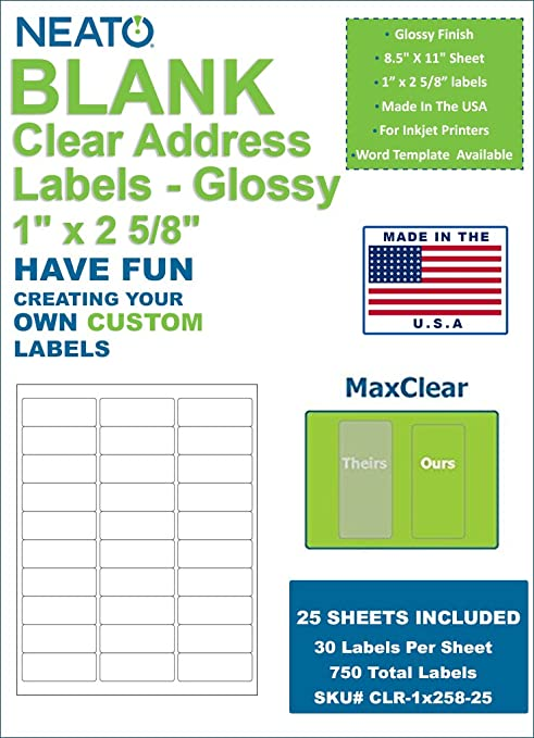 amazon com neato clear address labels 1 x 2 5 8 30 labels