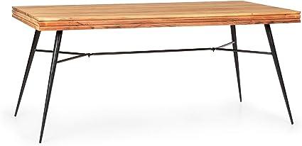 Blanc Besoa Vantor Table /à Manger : Acacia Style Industriel 175 x 78 x 90 cm pour 6 Personnes Bois Hauteur de Table de 78 cm Construction Solide