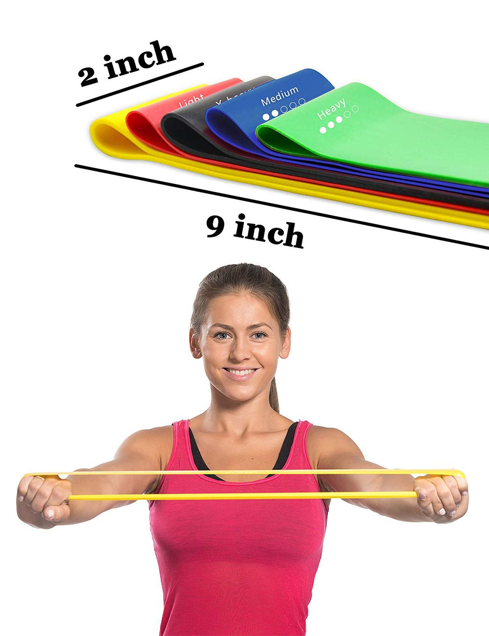 Body Power Training Homeol Thigh Latex 12 inch Long Loop X Light to X Heavy Gym Knee Butt for Yoga Carry Bag Workout Video Arm Resistance Bands Exercise Bands Set of 5 with Instruction Guide Leg