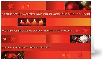 Weihnachtsgrüße In Französisch.20 Weihnachtskarten Grußkarten Modernes Streifenmuster Mit Grüßen