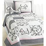 3 Piece Patchwork Floral Puppy Themed Quilt Set Queen Size, Featuring Beautiful French Dog Design Comfortable Bedding, Stylish Fun Playful Girls Animal Lover Bedroom Decoration, Grey, Pink, Multicolor