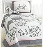 2 Piece Patchwork Floral Puppy Themed Quilt Set Twin Size, Featuring Beautiful French Dog Design Comfortable Bedding, Stylish Fun Playful Girls Animal Lover Bedroom Decoration, Grey, Pink, Multicolor