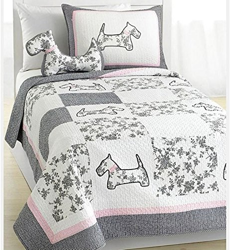 3 Piece Patchwork Floral Puppy Themed Quilt Set Queen Size, Featuring Beautiful French Dog Design Comfortable Bedding, Stylish Fun Playful Girls Animal Lover Bedroom Decoration, Grey, Pink, Multicolor by SE