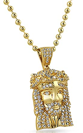 Amazon gold micro jesus piece iced out pendant clothing gold micro jesus piece iced out pendant mozeypictures Image collections