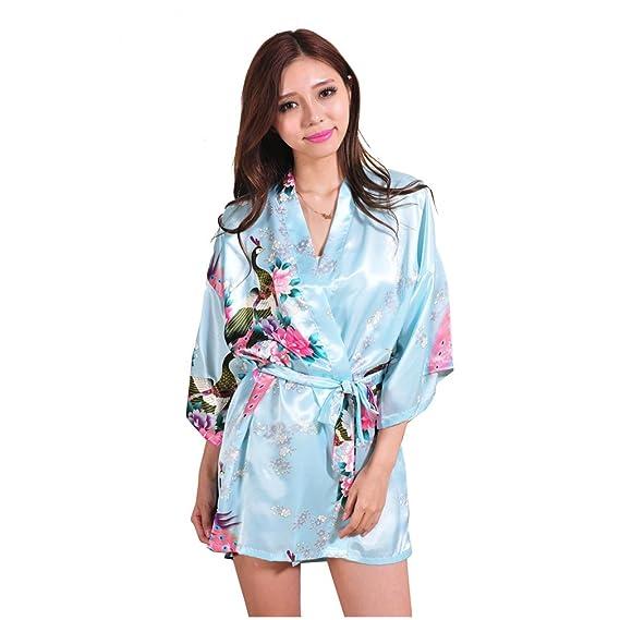 WYSMOL Ropa de Dormir Erótica de Pavo Real y Flor para Mujer Sexy Batas y Kimonos de Satén Albornoces Cortos: Amazon.es: Ropa y accesorios